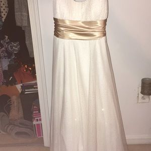 Tea length champagne gown